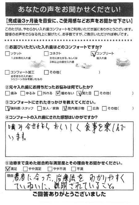 コンプリートご利用者様(男性)アンケート