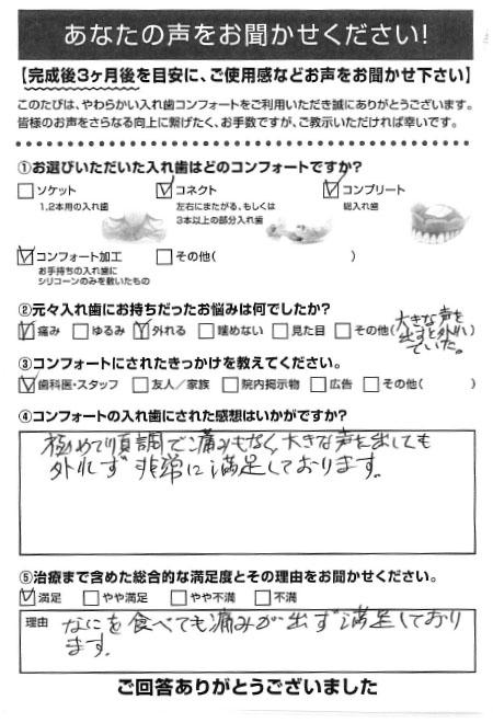 コネクトご利用者様(80代・男性)アンケート