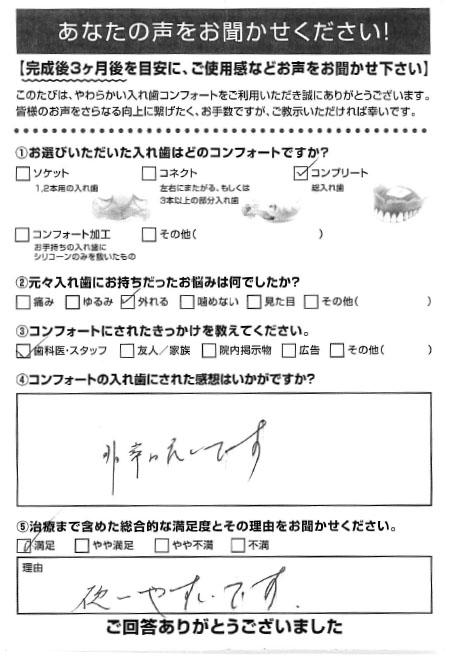 コンプリートご利用者様(90代・男性)アンケート