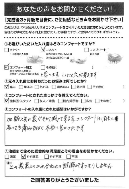 コネクトご利用者様(90代・女性)アンケート