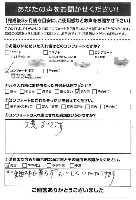 コンフォート加工ご利用者様(80代・女性)アンケート