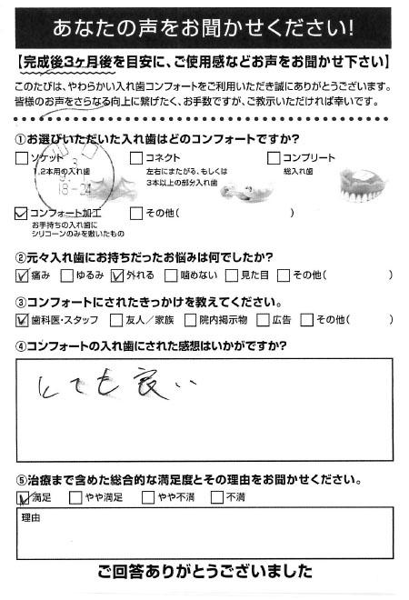 コンフォート加工ご利用者様(60代・男性)アンケート