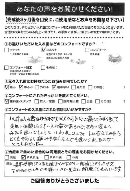 コネクトご利用者様(70代・男性)アンケート
