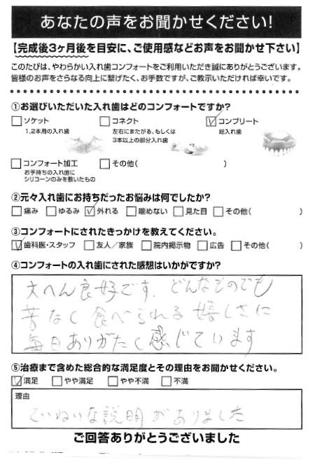 コンプリートご利用者様(70代・男性)アンケート